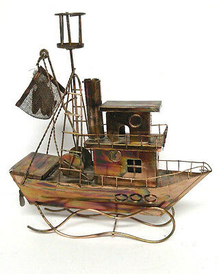 Vintage Berkeley Designs Copper Fishing Boat Trolley Music Box With Motion