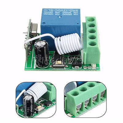 315MHz 1Channel Wireless Relay RF Remote Control Switch Receiver SRD DC12V 10A M