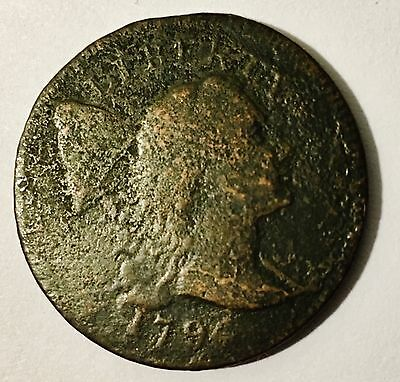 1796 Flowing Hair Large Cent VG/F Excellent Hair, Face Detail Despite Build-Up