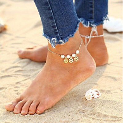 *new* Snowflake And Turquoise Charm Sandal Foot Chain Anklet - Free Shipping