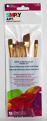 Loew Cornell Simply Art Acrylic/Watercolor Brush Set - 10 brown nylon brushes
