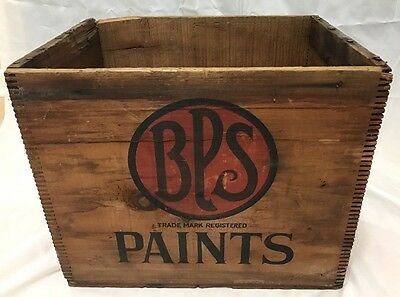 Antique BPS Paints Wood Crate Great Graphics Nice Dovetail
