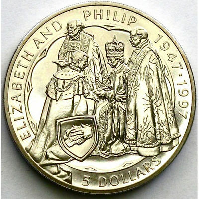 New Zealand 1997 Five Dollar Queen's Golden Wedd Anniversary