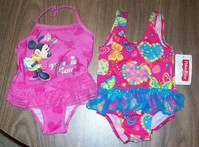 2 Swimsuits Baby Girls size 12 Months One Piece Disney Minnie Mouse Fisher Price
