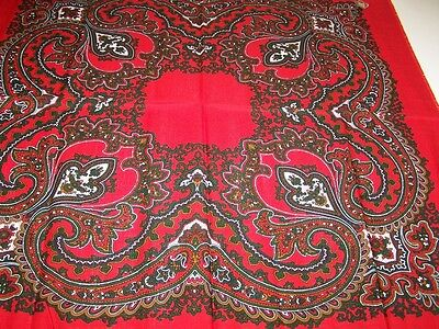 """Bright Red and Forest Green Tablescarf - 30-"""" x 30"""" pure wool  -  Austria"""
