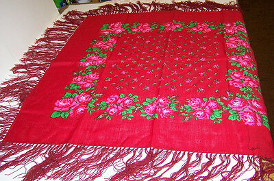 """Fringe Tablescarf  - 30"""" x 30"""" handscreened Floral your color choice -  Austria"""