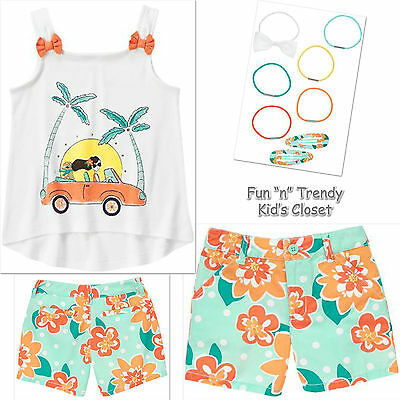 NWT Gymboree 5 6 SUNNY CITRUS Girls 2pc Floral Bow Swing Back Top /& Twill Pants