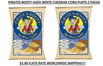 Pirate's Booty Aged White Cheddar Baked Corn Puffs 4 Oz. 2 Pack Easy Shipping