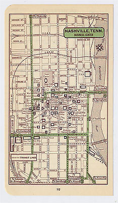 1951 Original Vintage Map Of Nashville Tennessee Downtown Business Center