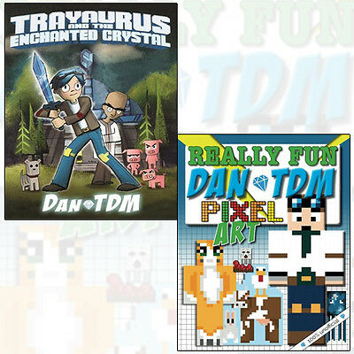 DanTDM 2 Books Collection Set (Really Fun Dan TDM Pixel Art Colouring Book) NEW