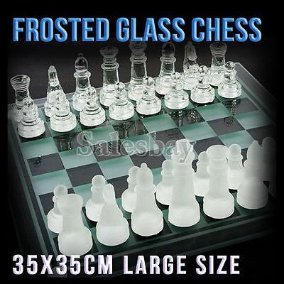 Large Elegant 35 x 35 cm Frosted Glass Chess Board Game Set (Chess-Large)
