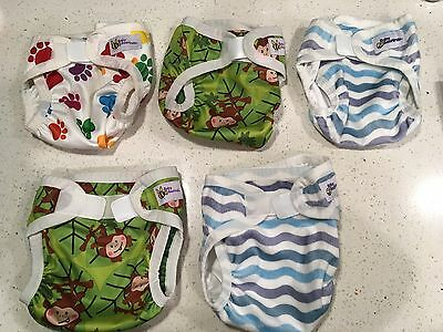 BULK - 5 x Baby Beehind PUL/Minky Nappy Covers- 3xSmall, 2xMedium-Hardly Used!