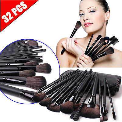 32pcs Professional Cosmetic Soft Eyebrow Shadow Makeup Brush Set Kit+ Pouch Case