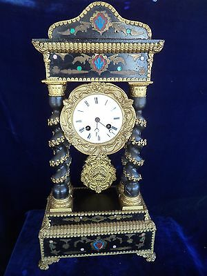 Ancienne Pendule Portique Napoleon Second Empire Boulle French Antique