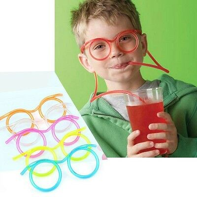 Kids Crazy Novelty Flexible Glasses Drinking Straw Tube Gift Party Supplies