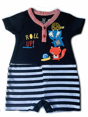 New Baby Boy Fox Romper Outfit Good Quality 0-9 Months Navy 100% Bio Wash Cotton