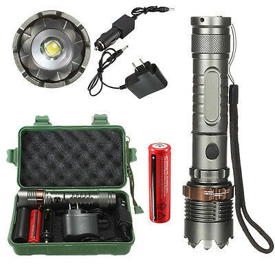 8000Lm T6 Powerful LED Flashlight Torch Zoomable Tactical + 18650 Charger Box