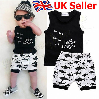 Summer Infant Baby Boys Shark Tops T-shirt Shorts Outfits Set Clothes UK Stock