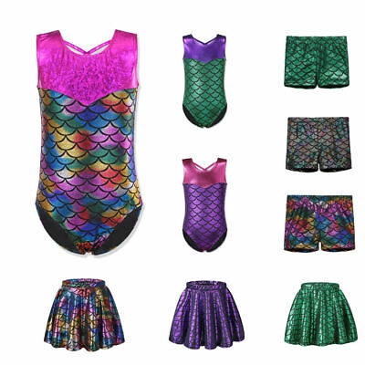 Girls Ballet Dance Bodysuit 2-12Y Kids Mermaid Gymnastic Leotards Skating Skirt