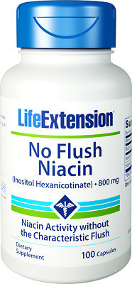 Life Extension, No-Flush Niacin (Inositol Hexanicotinat), 800mg, 100 Kapseln