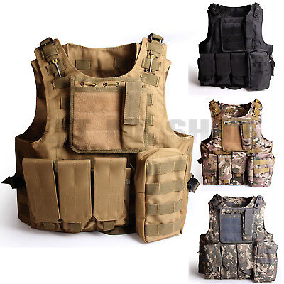 Combat Vest woodland SWAT Military Tactical Molle Raid Plate Carrier Adjustable