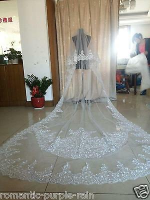3M Long Cathedral mantilla white ivory 2T Lace Bridal vail Wedding Veil & Comb