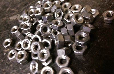 Pack100 2BA Thread imperial Hexagon Nuts Steel Self Colour