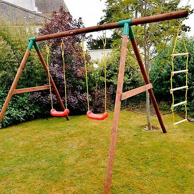 Swings Set - Little Tikes Riga Wooden Double Swing with Climbing Ladder