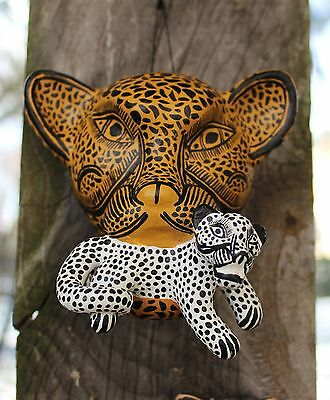 Mom & Baby Jaguar Wall Mask Amatenango Hand made Chiapas Mexico Folk Art Tribal