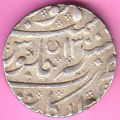 French India-Arkat(Full) Mint-Ry:13-Shah Alam-One Rupee-Rarest Silver Coin-13
