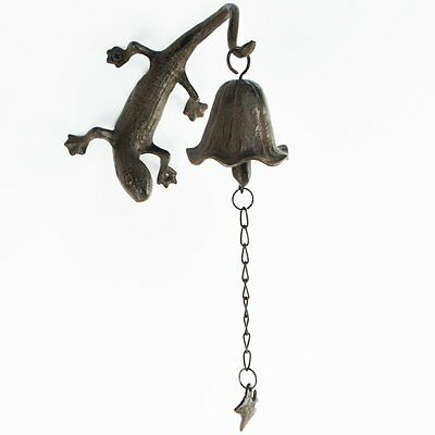 Metal Wall Mount Gecko Reptile Bell/Wind Chimes