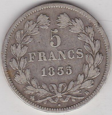 France 1835B Silver 5 Francs In A Used Good Fine Condition