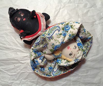 Mid 20th Century Cloth TOPSY TURVY DOLL Black AMERICANA