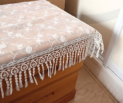 Gorgeous Rose Trail Embroidery Wide Lace White Table Topper Placemat 60CM