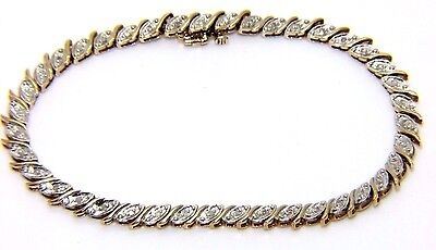 Ladies 9ct 9carat Yellow Gold Diamond Tennis Bracelet 7 1/4 Inches