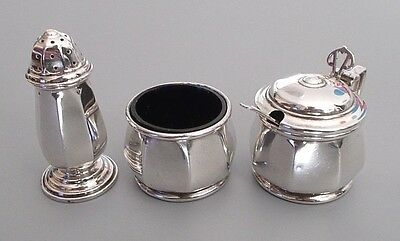 Vintage solid silver 3 pc cruet set w. spoon, Barker Bros., B'ham 1953