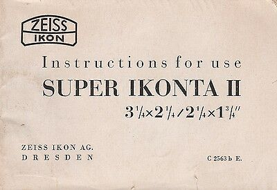 Zeiss Ikon Original Instruction Manual for Super Ikonta II - 32 pages