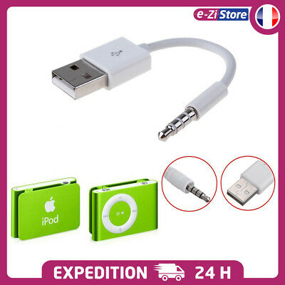 CABLE 3.5mm ADAPTATEUR USB JACK SYNC DATA CHARGEUR POUR APPLE iPod Shuffle 1 2
