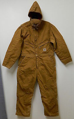 CARHARTT INSULATED COVERALLS OVERALLS w/ REMOVABLE HOOD~MENS 46 SHORT~POCKETS