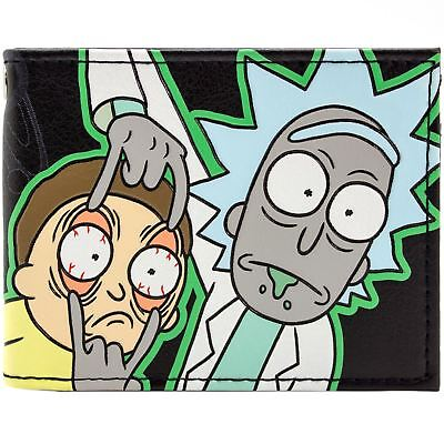New Official Rick And Morty Mad Scientist Cartoon Black Id & Card Bi-Fold Wallet