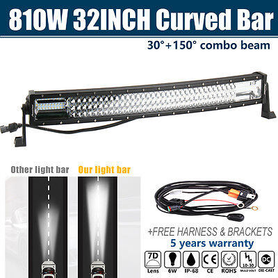 810W 32'' Inch CREE Curved LED Light Bar Combo Offroad Work Driving Lamp 30'' 34