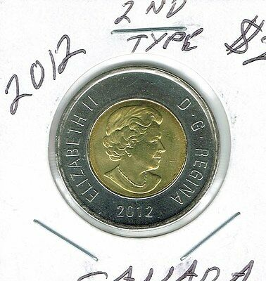 2012 Canadian Brilliant Uncirculated Type 2 $2 Toonie coin!