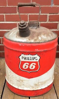 Vintage Phillips 66 Can 5 Gallon Gas/Oil Bartlesville, Oklahoma Wooden Handle