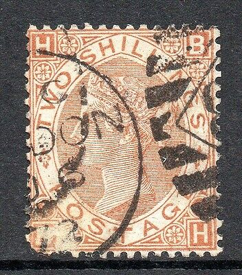 GB QV SG121  2/- Brown Plate 1 Used Corner Fault Cat £4250