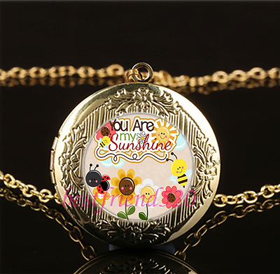 You Are My Sunshine Cabochon Glass Gold Plating Locket Pendant Necklace