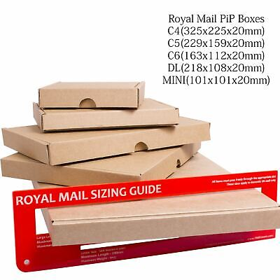 50x ROYAL MAIL LARGE LETTER CARDBOARD BOX SHIPPING MAIL POSTAL PIP A6/C6