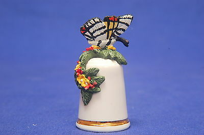 Butterfly Stirling Classic H/Painted Thimble No.5 B/55