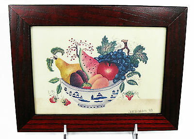 Theorem Painting Primitive Folk Art Bowl of Fruit on Velvet Signed