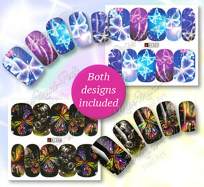 2x Water Nail Wraps Stickers, Butterfly Water Decals, Butterflies Nails A1307