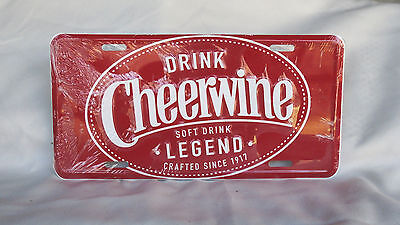 Cheerwine Cola~Soft Drink Legend since 1917~New Collector Metal License Plate
